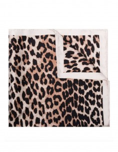 GANNI square leopard print silk scarf with logo - SS21