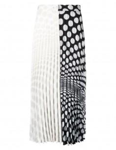 Jupe longue plissée MM6 à pois bi-face noire et blanche - SS21