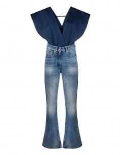 Salopette MM6 en jean bleu bi-colore col V pour femme - SS21