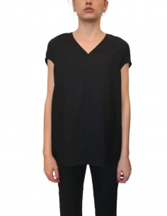 RICK OWENS black oversized cut and V-neck top for women - SS21