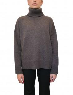 Pull col roulé en laine et cachemire marron pour femme - CO