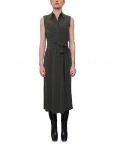 Khaki sleeveless midi shirt dress - CO