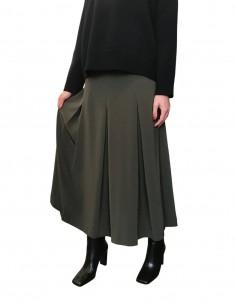 Khaki pleated skirt with zip - CO