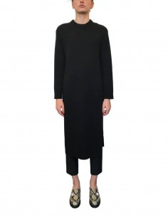 Black wool sweater dress with maxi slits - CO