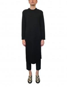 Robe pull en laine noire avec maxi fentes - CO