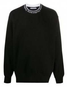 ACNE STUDIOS black sweatshirt with contrasting logo collar for men - SS21