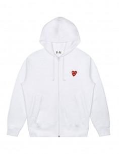 Sweat zippé à capuche blanc COMME DES GARCONS PLAY avec double coeur rouge devant.