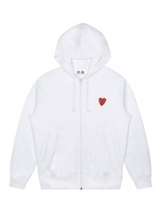 White COMME DES GARCONS PLAY zipped hoodie with double red heart on front.
