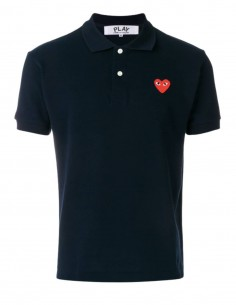 COMME DES GARÇONS PLAY blue polo shirt with red heart logo - SS21