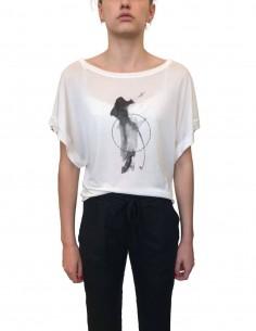 T-shirt blanc ISABEL BENENATO oversize avec imprimé pour femme - SS21