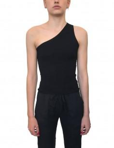 Black ISABEL BENENATO asymmetric bare shoulder top - SS21
