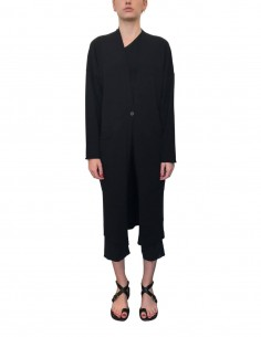 Long black ISABEL BENENATO cardigan with button for women - SS21