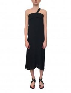 Long dress ISABEL BENENATO asymmetrical in black silk - SS21