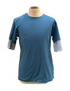 Double t-shirt ATTACHMENT bleu et gris pour homme - SS21