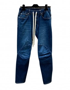 Blue ATTACHMENT jeans with elastic waist and drawstrings for men - SS21