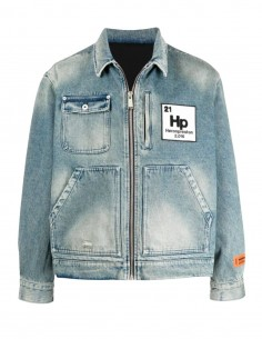 HERON PRESTON jacket in faded effect denim jeans with logo patch - SS21