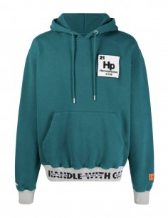 Teal green sweatshirt for men with ribbed edges and logo patch - SS21
