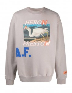 "HERON PRESTON taupe sweater with ""heron"" print for men - SS21"