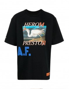 HERON PRESTON tee-shirt in black cotton with print for men - SS21