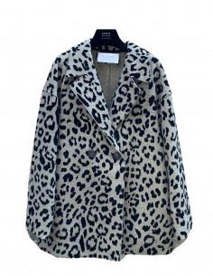 HARRIS WHARF grey leopard print short coat for women - SS21