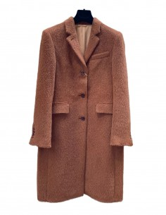 HARRIS WHARF straight coat in brown twill for women - SS21