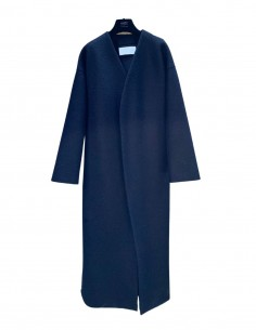 Blue long bathrobe-style HARRIS WHARF coat for women - SS21