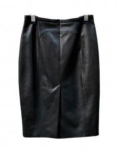 Jupe droite BARBARA BUI fendue en cuir noir - SS21