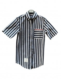 "THOM BROWNE ""Seersucker"" blue striped shirt for women - SS21"