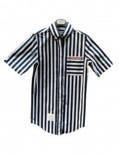"THOM BROWNE ""Seersucker"" blue striped shirt for women - SS21"