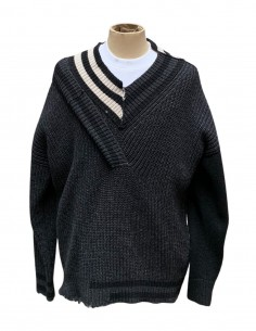 Pull Double Col V  Tricolore Gris
