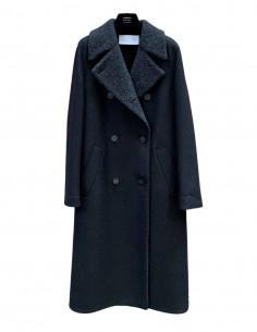 Long black HARRIS WHARF military coat for women - SS21
