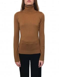 BARBARA BUI turtleneck sweater in brown wool for women - FW20