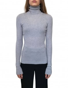 BARBARA BUI grey ribbed sock sweater with turtleneck for women - FW20