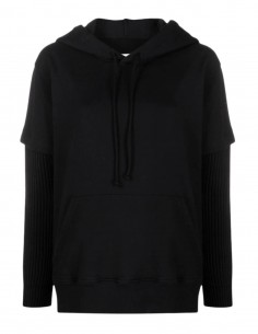 MM6 black hoodie with ribbed sleeves for women - SS21