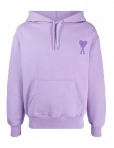 Sweat à capuche AMI PARIS violet pour homme avec logo brodé - SS21