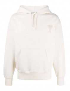 AMI PARIS ecru hoodie for men with embroidered logo - SS21
