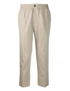 AMI PARIS pleated beige pants for men with elastic waist - SS21