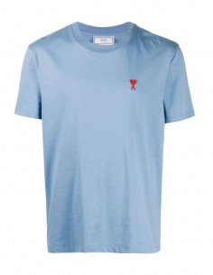 Blue t-shirt with embroidered heart logo - AMI PARIS