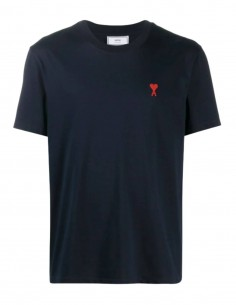 Navy t-shirt with embroidered heart logo - AMI PARIS