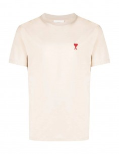 Beige t-shirt with embroidered heart logo - AMI PARIS