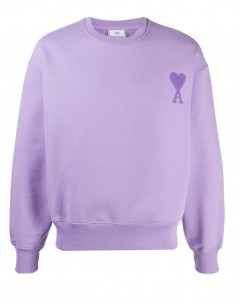 AMI PARIS oversize purple sweatshirt with tone-on-tone logo for men - SS21