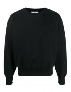AMI PARIS oversize black sweatshirt with tone-on-tone logo for men - SS21