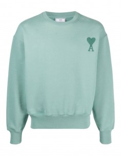 AMI PARIS oversize green sweatshirt with tone-on-tone logo for men - SS21