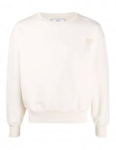 AMI PARIS oversize ecru sweatshirt with tone-on-tone logo for men - SS21