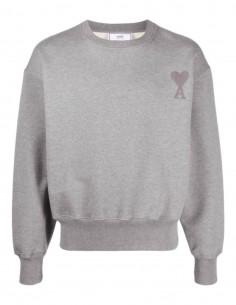 Sweat AMI PARIS oversize gris avec logo ton sur ton pour homme - SS21