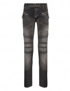BALMAIN blue slim-cut biker jeans - SS21