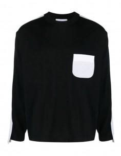Pull AMBUSH noir et blanc avec poche avant pour homme - SS21
