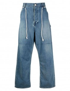 Wide AMBUSH blue jeans with drawstrings for men - SS21