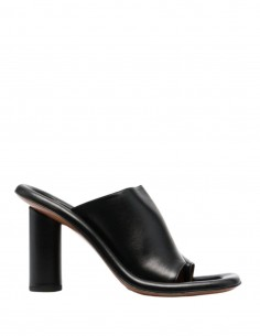 """AMBUSH """"Cushion"""" mules in black leather with cylindrical heel - SS21"""