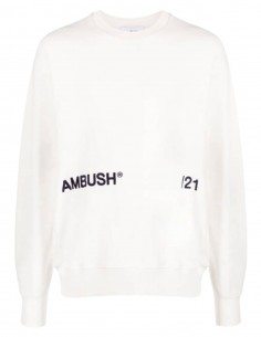 Sweatshirt mixte AMBUSH écru avec logo sur l'avant - SS21
